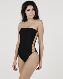 New Look Metallic Bar Side Swimsuit Black