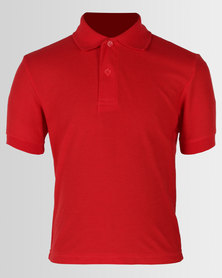 Fruit of the Loom Kids SS Polo Tee Red