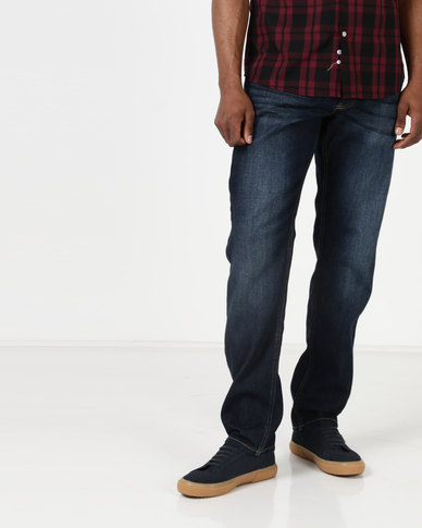 Crosshatch Wayne Two Slim Fit Jeans With Belt Dark Wash