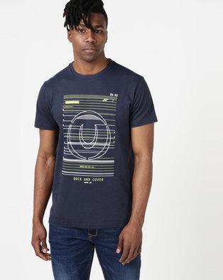 Duck   Cover Gamma Raised Print T-shirt Deep Navy e92ba0c25b16