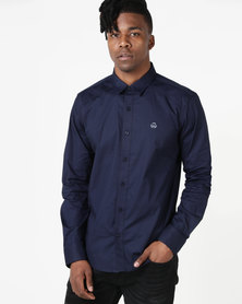 Duck & Cover Raginald Tailored Fit Shirt Navy