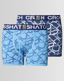 Crosshatch Equalizer 2Pk Print Boxers Estate Blue