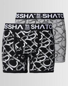 Crosshatch Equalizer 2Pk Print Boxers Black
