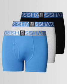 Crosshatch RGB 3Pk Plain Boxers Blue Deep Azure