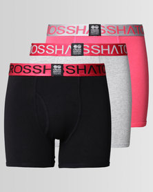 Crosshatch RGB 3Pk Plain Boxers Magenta Teaberry