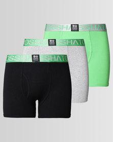 Crosshatch RGB 3Pk Plain Boxers Green /Classic Green