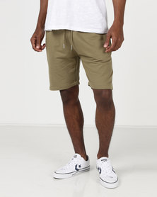 D-Struct Basen Sweat Jog Shorts Khaki