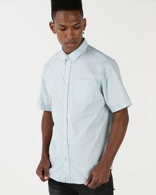 D-Struct Short Sleeved Oxford Shirt Blue