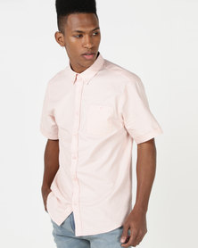 D-Struct Short Sleeve Oxford Shirt Pink