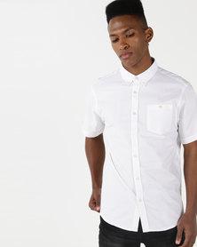 D-Struct Short Sleeved Oxford Shirt White