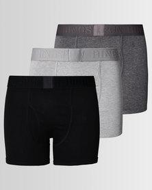 Ringspun 3pk Boxershorts Greys
