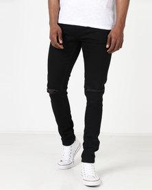 Ringspun Apollo Skinny Ripped Jeans Black