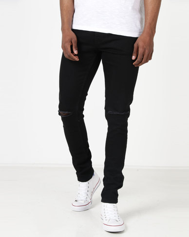 Black Skinny Jeans Apollo Ripped Ringspun vwnmN80