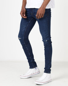 Ringspun Apollo Skinny Ripped Jeans Mid Blue
