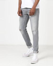 Ringspun Apollo Skinny Ripped Jeans Grey