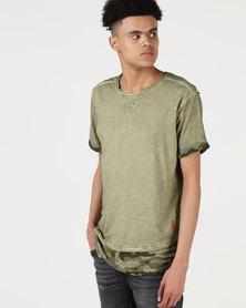 Ringspun Nordic Camo Detail Washed T-shirt Olive