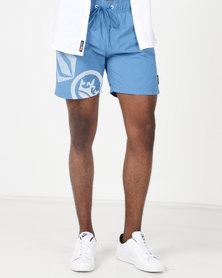 Crosshatch Ramires Symbol Swim Shorts Blue Daphne