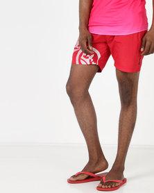 Crosshatch Ramires Symbol Swim Shorts Red Bar Cherry