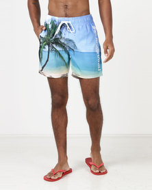 Crosshatch Shelford Photo Print Shorts Island Blue