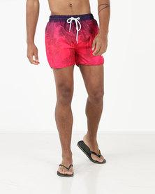 Crosshatch Mythrop Gradient Print Swim Shorts Pink