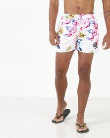 Crosshatch Tattington Floral Swim Shorts White