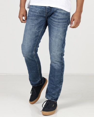 Crosshatch Embossed Techno Straight Leg Jeans Stone Wash
