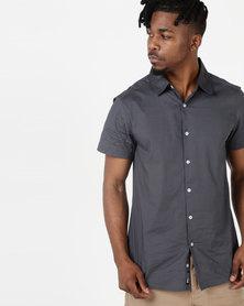 Crosshatch Lambart Short Sleeve Shirt Navy India Ink