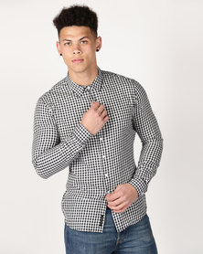 Crosshatch Larix Gingham Check Shirt Navy Check