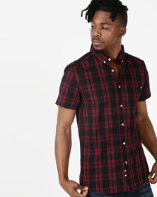 Crosshatch Rational Short Sleeve Check Shirt Red