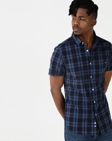 Crosshatch Rational Short Sleeve Check Shirt Blue
