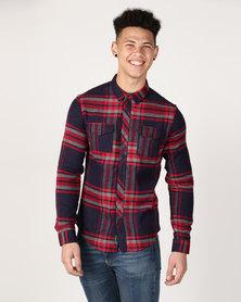 Crosshatch Fitzroya Check Shirt Navy/Red