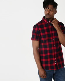 Crosshatch Logans Short Sleeve Block Check Shirt Red