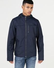 Crosshatch Linus Zip Through Hooded Jacket Sapphire Navy