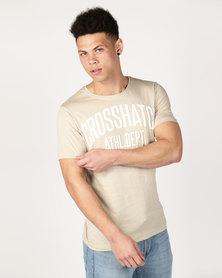 Crosshatch Shamen Puff Print T-Shirt Stone
