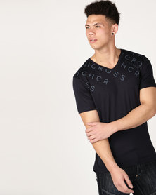 Crosshatch Tonwdown V-neck T-Shirt Navy Night Sky