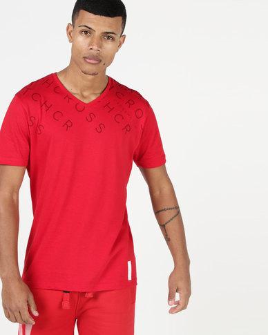 Crosshatch Tonwdown V-Neck T-Shirt Red Cherry