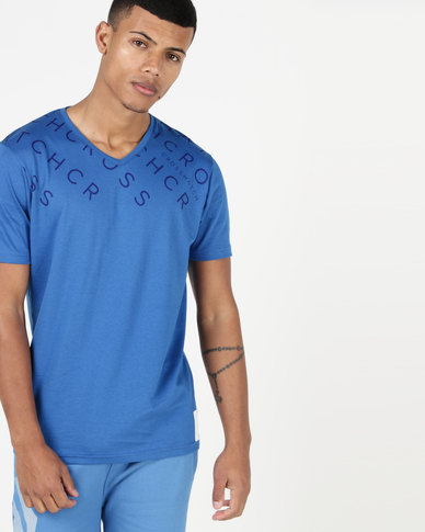 Crosshatch Tondown V-Neck T-Shirt Blue