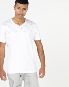 Crosshatch Tondown V-Neck T-Shirt White