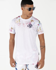 Crosshatch Makerby Flower Fade Out T-Shirt White