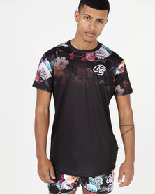 Crosshatch Makerby Flower Fade Out T-Shirt Black