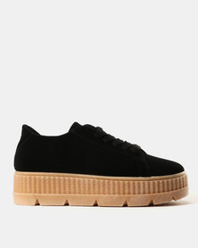 Soviet Iman Ladies Nubuck Platform Sneakers Black/Gum