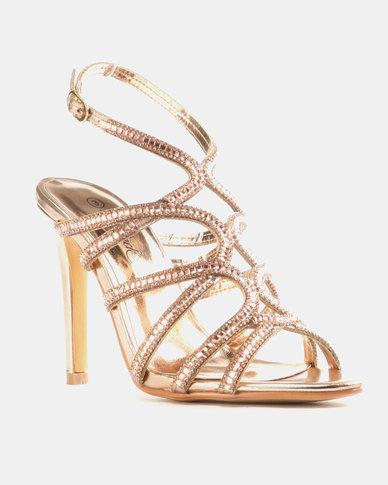 Miss Black Kaede Heeled Sandals Rose Gold
