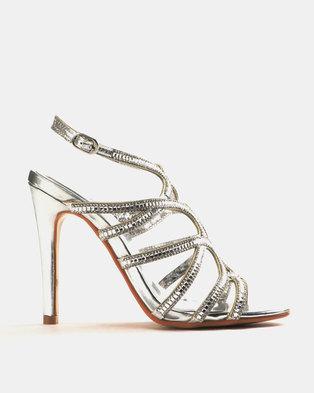 da4ee6efe0938b Miss Black Kaede Heeled Sandals Silver