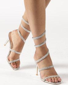 Miss Black Deb Heeled Sandals Silver