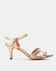 Miss Black Jorja Low Heel Sandals Rose Gold