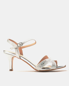 Miss Black Jorja Low Heel Sandals Silver