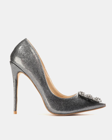 Miss Black Manolo Courts Pewter