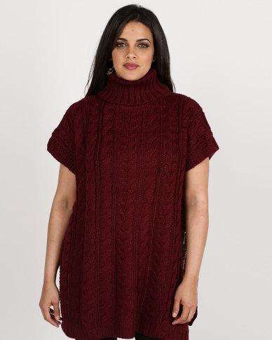 London Hub Fashion Fancy Cable Knit Tabard Polo Neck Burgundy