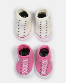 Converse 2 Pack Bootie Set White/Pink