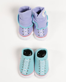 Converse 2 Pack Bootie Set Aqua/Purple